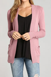 Knit Open Front Sweater Basic Cardigan with Pockets-Mauve Pink