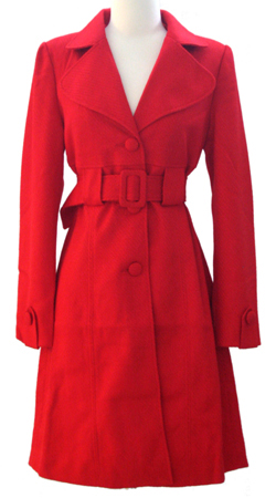 Long Tweed Belted Coat-Red :  coat red belted long