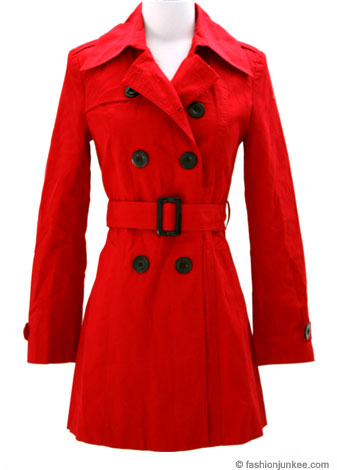 Classic Belted Double Breasted Trench Coat Jacket-Red