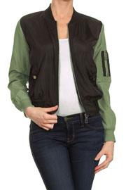 Lightweight Solid Bomber Jacket with Contrast Sleeves-Black