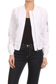 Lightweight Solid Bomber Jacket-White