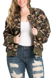 :As Seen In US WEEKLY: PLUS SIZE Camouflage Bomber Jacket-Olive Green