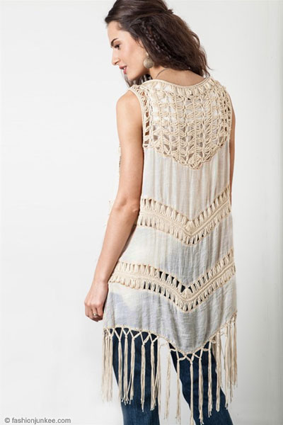 Bohemian Long Crochet Fringe Sleeveless Cardigan Vest-Rust