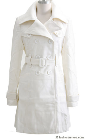 Warm Classic Belted Double Breasted, Double Collar Peacoat Jacket-White