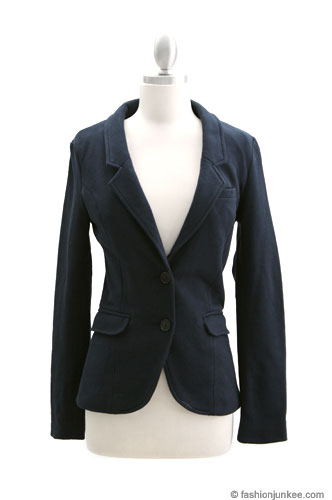 Sophisticated Boyfriend Blazer Jacket with Elbow Patch-Navy Blue