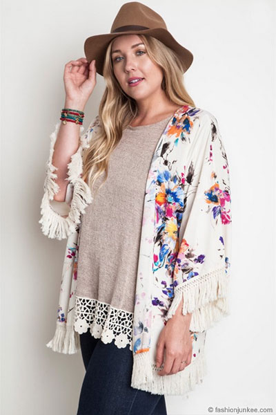 PLUS SIZE Gorgeous Vintage Inspired Bohemian Floral Watercolor ...