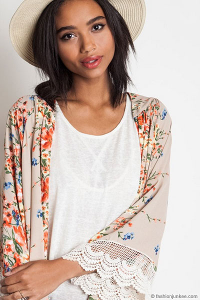 As Seen In US WEEKLY: Bohemian Vintage Inspired Floral Lace Kimono ...