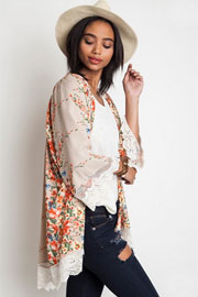 :As Seen In US WEEKLY: PLUS SIZE Bohemian Vintage Inspired Floral Lace Kimono Cardigan-Taupe