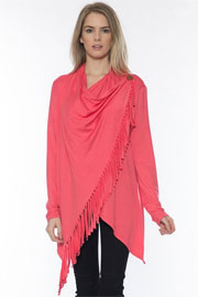 Jersey Long Sleeve Draped Fringe Cardigan-Coral