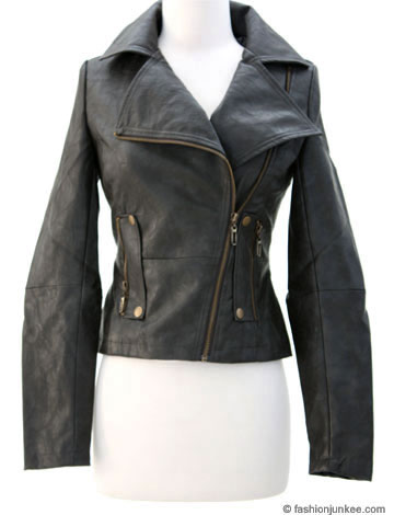 Zipper Faux Leather Jacket with Big Collar-Grey