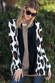 Long Sleeve Bold Leopard Print Open Front Cardigan-Black