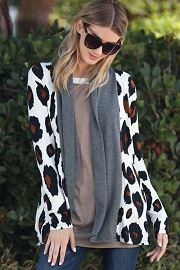 Long Sleeve Bold Leopard Print Open Front Cardigan-Grey