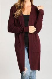Long Open Front Everyday Cardigan with Pockets-Burgundy