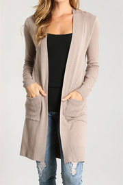 Long Open Front Everyday Cardigan with Pockets-Mocha