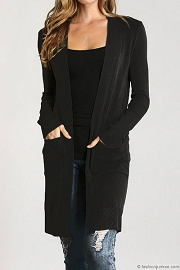 Long Open Front Everyday Cardigan with Pockets-Black