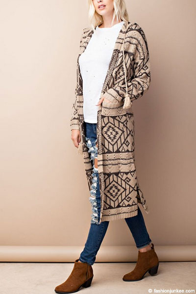 Long Hooded Tribal Aztec Geometric Print Open Front Cardigan ...