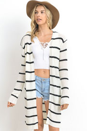 Striped Long Open Front Cardigan-White & Black