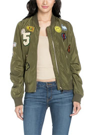 Patch Bomber Jacket-Olive Green