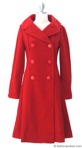 Classic Long Double Breasted Peacoat Jacket-Red