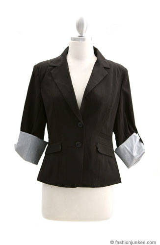 *FLASH SALE* Pin Striped Cuffed Boyfriend Blazer Jacket-Black