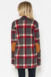 Plaid Check Print Cardigan with Suede Elbow Patch-Grey