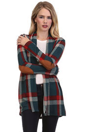 Plaid Check Print Cardigan with Suede Elbow Patch-Blue Green