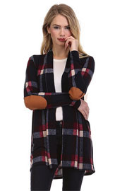 Plaid Check Print Cardigan with Suede Elbow Patch-Navy Blue