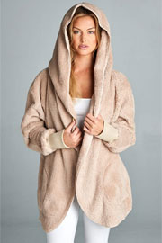 :AS SEEN IN US WEEKLY: Long Sleeve Hooded Plush Faux Fur Jacket with Pockets-Beige Off White