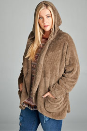 PLUS SIZE Long Sleeve Hooded Plush Faux Fur Jacket with Pockets-Mocha Brown