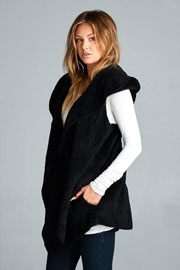 :AS SEEN IN US WEEKLY: Hooded Plush Faux Fur Vest with Pockets-Black