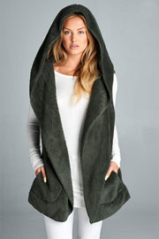 :AS SEEN IN US WEEKLY: Hooded Plush Faux Fur Vest with Pockets-Olive Green