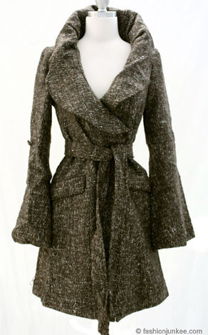 Long Thick Wool Belted Ruffle Collar Coat-Brown :  wool lined fully long