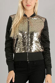 :As Seen In PEOPLE STYLEWATCH Magazine: Sequin Quilted Padded Bomber Jacket-Gold & Black