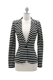 Striped Blazer Jacket with Elbow Patch-Black, White & Coral