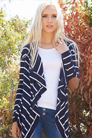 Draped Striped Open Cardigan with Suede Elbow Patch-Navy Blue & White