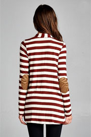 PLUS SIZE Striped Cardigan with Suede Elbow Patch-Burgundy Dark Red & Beige