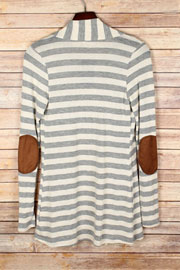 PLUS SIZE Striped Cardigan with Suede Elbow Patch-Heather Grey & Beige