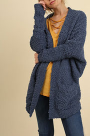 Long Sleeve Knit Open Front Cardigan Sweater with Pockets-Blue