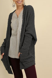 Long Sleeve Knit Open Front Cardigan Sweater with Pockets-Dark Grey