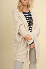 Long Sleeve Knit Open Front Cardigan Sweater with Pockets-Off White