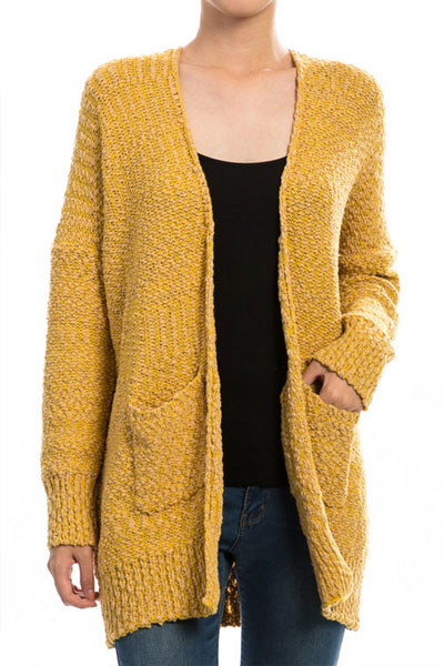 Long Sleeve Knit Open Front Cardigan Sweater with Pockets-Mustard ...
