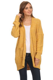 Long Sleeve Knit Open Front Cardigan Sweater with Pockets-Mustard Yellow
