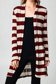 Long Striped Cardigan with Elbow Patch-Burgundy & Beige