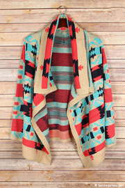 Thick Tribal Aztec Print Cardigan Sweater-Coral, Aqua Blue & Taupe