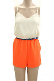 Neon Colorblock Belted Jumper Romper-Orange