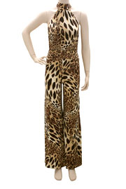 Choker Backless Jumpsuit, Wide Leg Gaucho Pants-Leopard Print