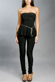 Strapless Peplum Jumpsuit with Belt-Black