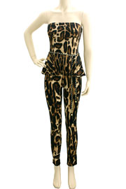 Strapless Peplum Jumpsuit with Belt-Leopard Print