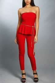 Strapless Peplum Jumpsuit with Belt-Red