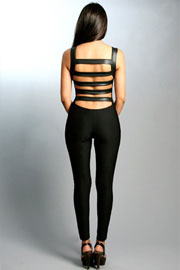 Backless Strappy Open Back Jumpsuit with Faux Leather Straps-Black